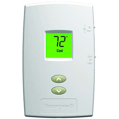 HONTH1110D1000 PRO 1000 VERTICAL NON-PROGRAMMABLE DIGITAL THERMOSTATS, BACKLIT DISPLAY, DUAL POWERED (24VAC AND/OR BATTERY). 1 HEAT / 1 COOL, HONEYWELL