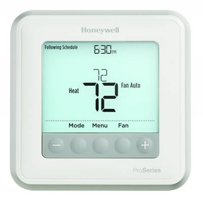 HONEYWELL TH6220U2000/U T6 PRO T-STAT 2H/2C CONV 2H/1C HP W/DUAL FUEL CAPABILITY, FLEX PROG - BATTERY OR HARD WIRE MC363591